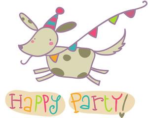 happy party bigliettino con cane