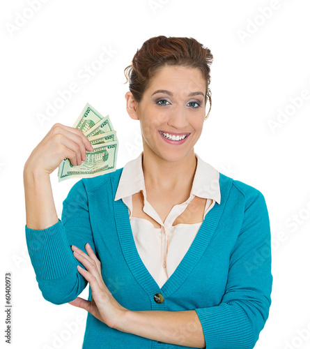 Excited happy woman holding dollar bills, money
