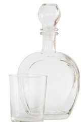 Decanter and glass on white background