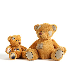 two teddy bears with happy smiling face