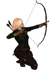 Blonde Female Archer Kneeling