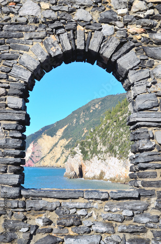 View through the Window to coastal Landscape in Portovenere