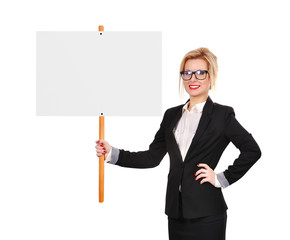 businesswoman holding whiteboard