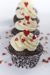 Chocolate cupcakes for Valentines day with hearts