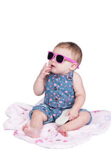 little toddler with sunglasses