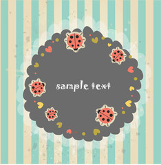 Retro styled background with ladybugs
