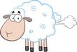 Cute White Sheep Cartoon Mascot Character With Fart Cloud