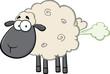 Cute Black Head Sheep Cartoon Mascot Character With Fart Cloud