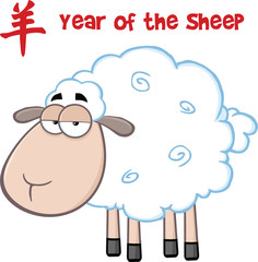 Sheep Cartoon Character Under Text Year Of The Sheep