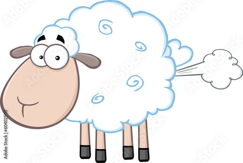 Cute White Sheep Cartoon Mascot Character With Fart Cloud