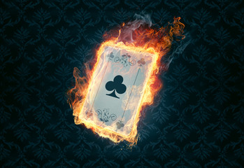flaming poker card