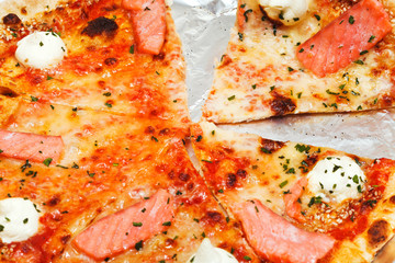 italian pizza with salmon fish