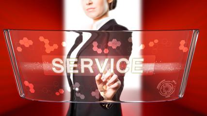 junge Geschäftsfrau drückt Service-Button