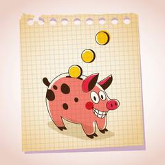 Piggy bank note paper cartoon sketch