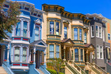 Fototapety San Francisco Victorian houses in Pacific Heights California