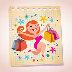 shopping girl note paper cartoon illustration