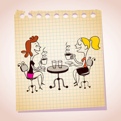 two girls drinking coffee note paper cartoon illustration