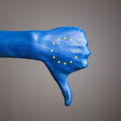Hand painted flag European Community expressing negativity