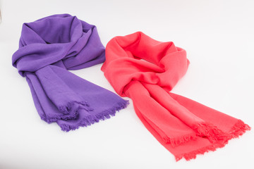 Purple and pink scarves/Purple and pink scarves isolated