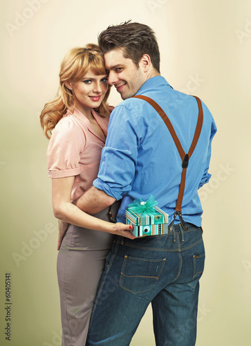 Attractive couple with gifts for valentine's day
