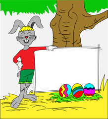 Easter bunny rabbit cartoon holding sign