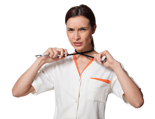 nurse or medicine student hanging with the stethoscope