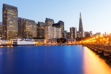 San Francisco Pier 7 sunset in California