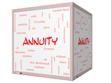 Annuity Word Cloud Concept on a 3D cube Whiteboard poster