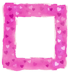 Abstract Pink Watercolor Hearts Square Frame Border