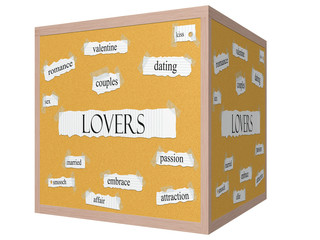 Lovers 3D cube Corkboard Word Concept