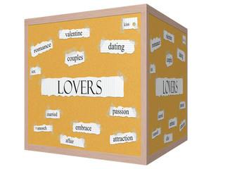 Lovers 3D cube Corkboard Word Concept