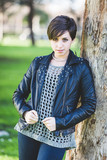 Beautiful Girl with Leather Jacket at Park