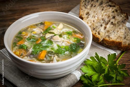 In de dag Voorgerecht Chicken soup with rice and vegetables