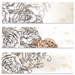 Floral business cards set with roses flowers  for design