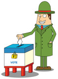 man with hat voting