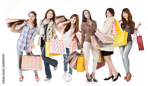 Group of Asian shopping women