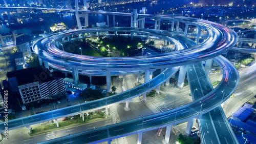 China Shanghai Nanpu Bridge with heavy traffic time lapse