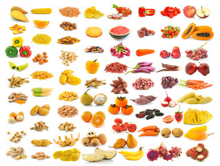 red yellow food collection isolated on white background