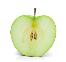 green apple slice isolated on white background