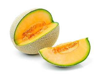 cantaloupe  melon on white background