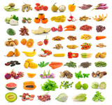fruit and vegetable collection isolated on white background