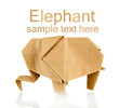 Origami elephant isolated on white