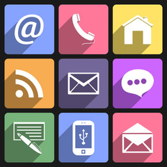 Communication flat icons set