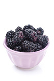 bowl of fresh blackberries isolated
