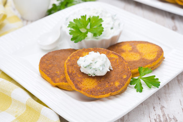 pumpkin pancakes with feta cheese sauce