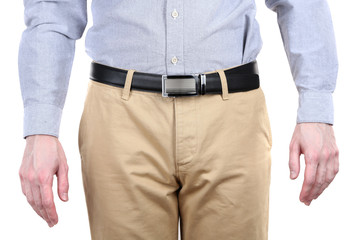 Man in trousers and shirt isolated on white