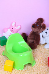 Green potty on home interior background