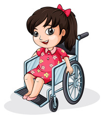 An Asian girl riding on a wheelchair