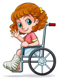 A Caucasian girl sitting on a wheelchair