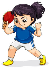 A female Asian playing tabletennis